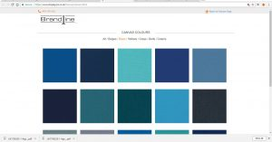 Filtering the Blue range of canvas colours